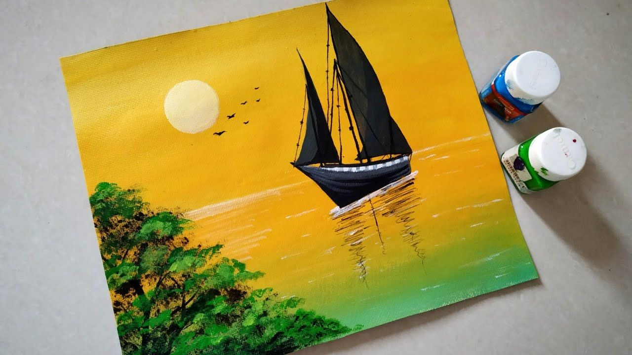 Sailboat Sunset Seascape Acrylic Painting Simple Acrylic Sunset Painting Tutorial For Beginners Sunset Painting Painting Tutorial Acrylic Painting Canvas