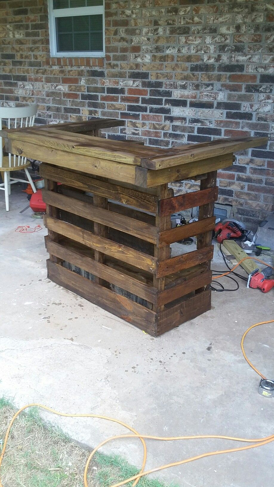 DIY Homemade Bar Top Pallet.