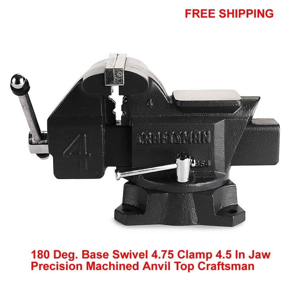 Bench Vise 180 Degree Base Swivel 4 75 Clamp 4 5 In Jaw Precision Anvil Top New Bench Vice Steel Handle Vises