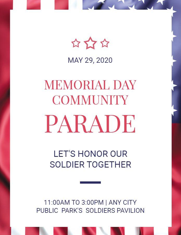 Memorial Day Parade Announcement Flyer Template Modern Memorial