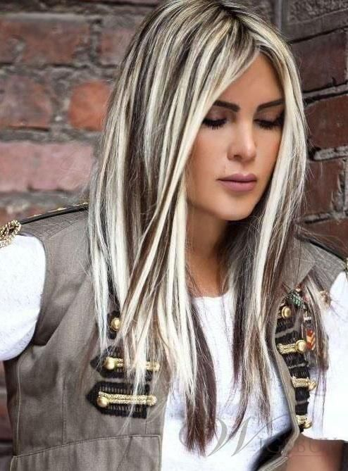 Fashion Long Straight Dark Brown Mixed with Blonde