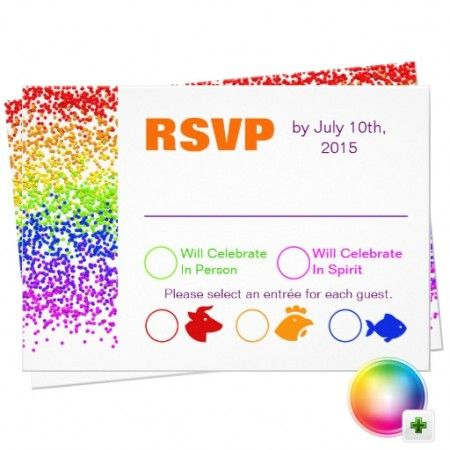 RSVP Rainbow Wedding Fun And Modern Card Wedding card Rsvp and