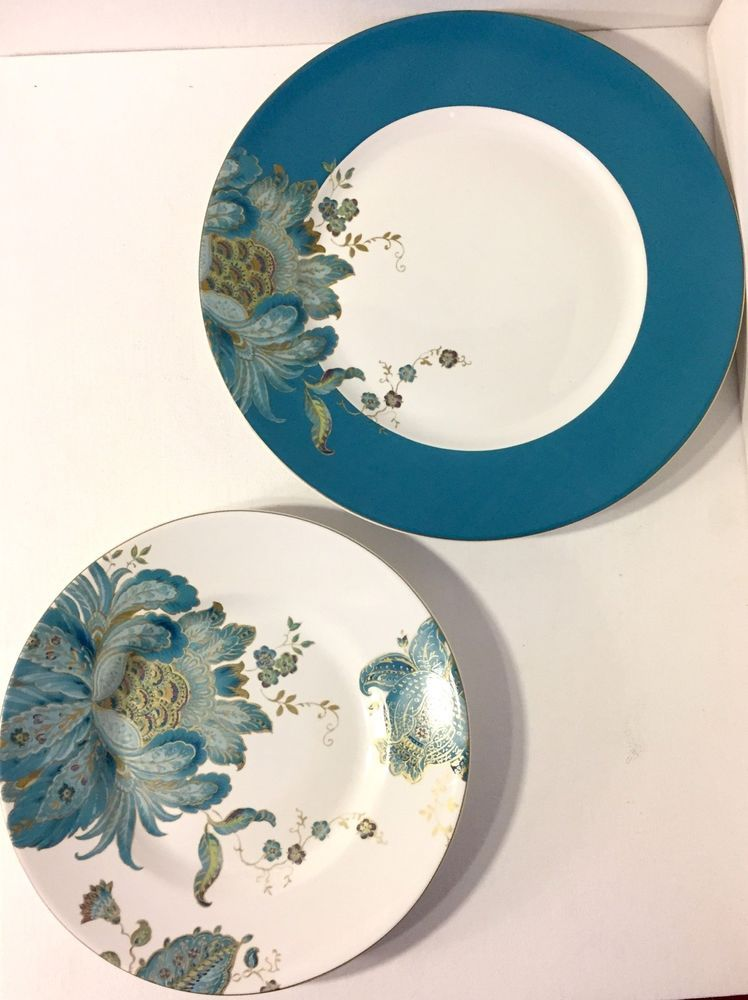 222 Fifth Eliza Teal – Set of 2 Dinner and 2 Salad Plates ...
