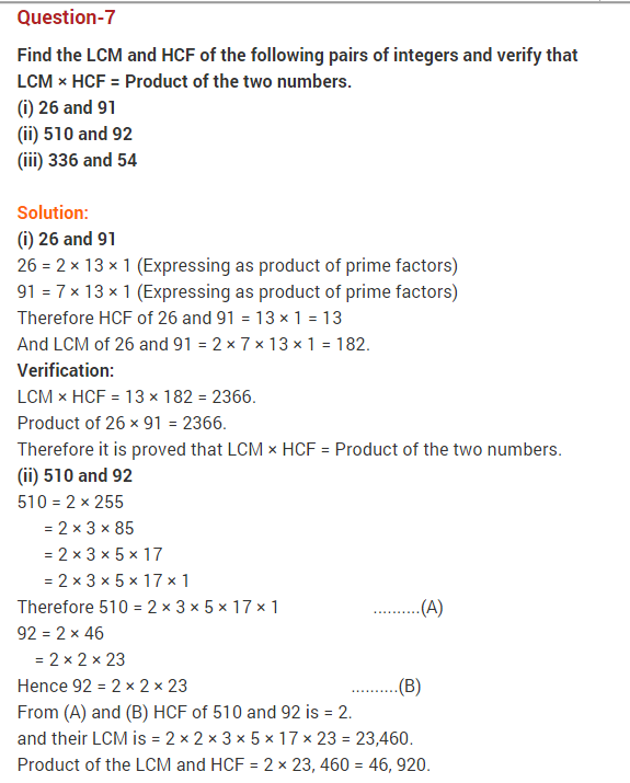 Ncert Solutions For Class 10 Maths Chapter 1 Real Numbers Maths