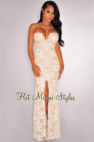 07fda65a62 Off White Plunging Strapless Padded Slit Gown