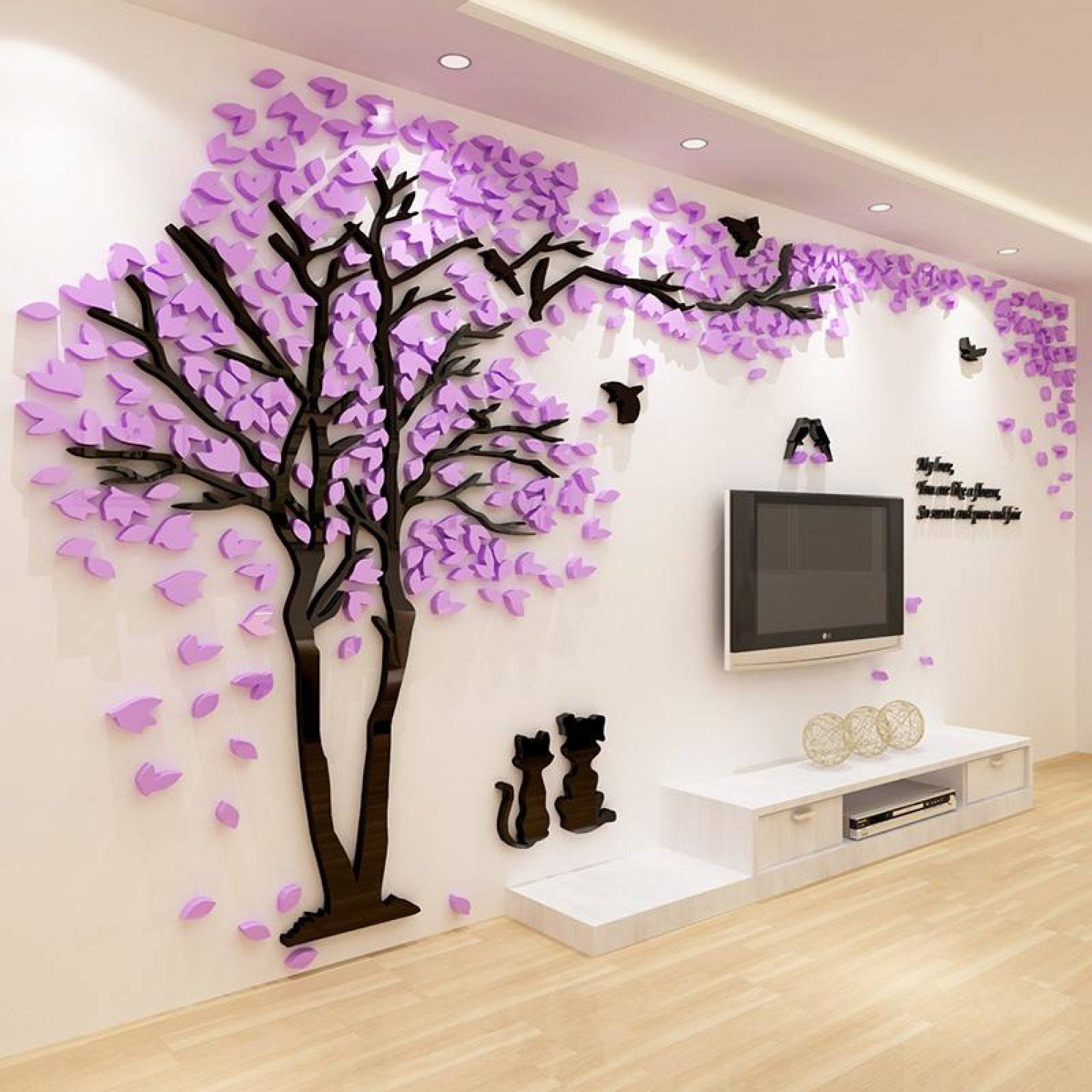 couple tree 3d sticker acrylic stereo wall stickers home on wall stickers 3d id=20016