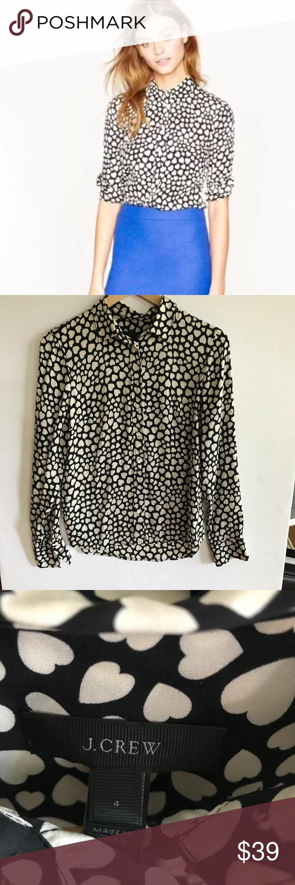 J crew silk boy shirt in heart throb size in my posh picks