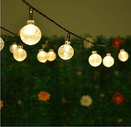 Solar string lightshann 20ft 30 leds crystal ball waterp https outdoor solar fairy lights 30 led crystal ball globe string lights garden new mozeypictures Choice Image