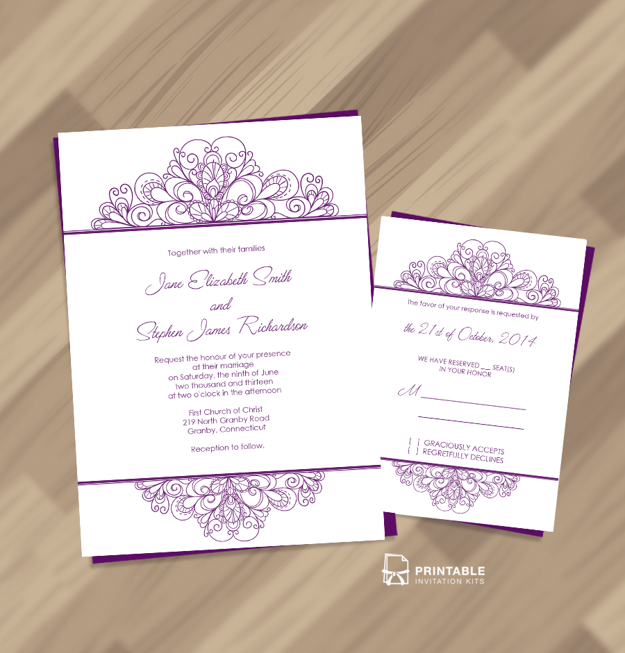 Vintage Ornamental Header Wedding Invitation And RSVP. Easy To Edit And