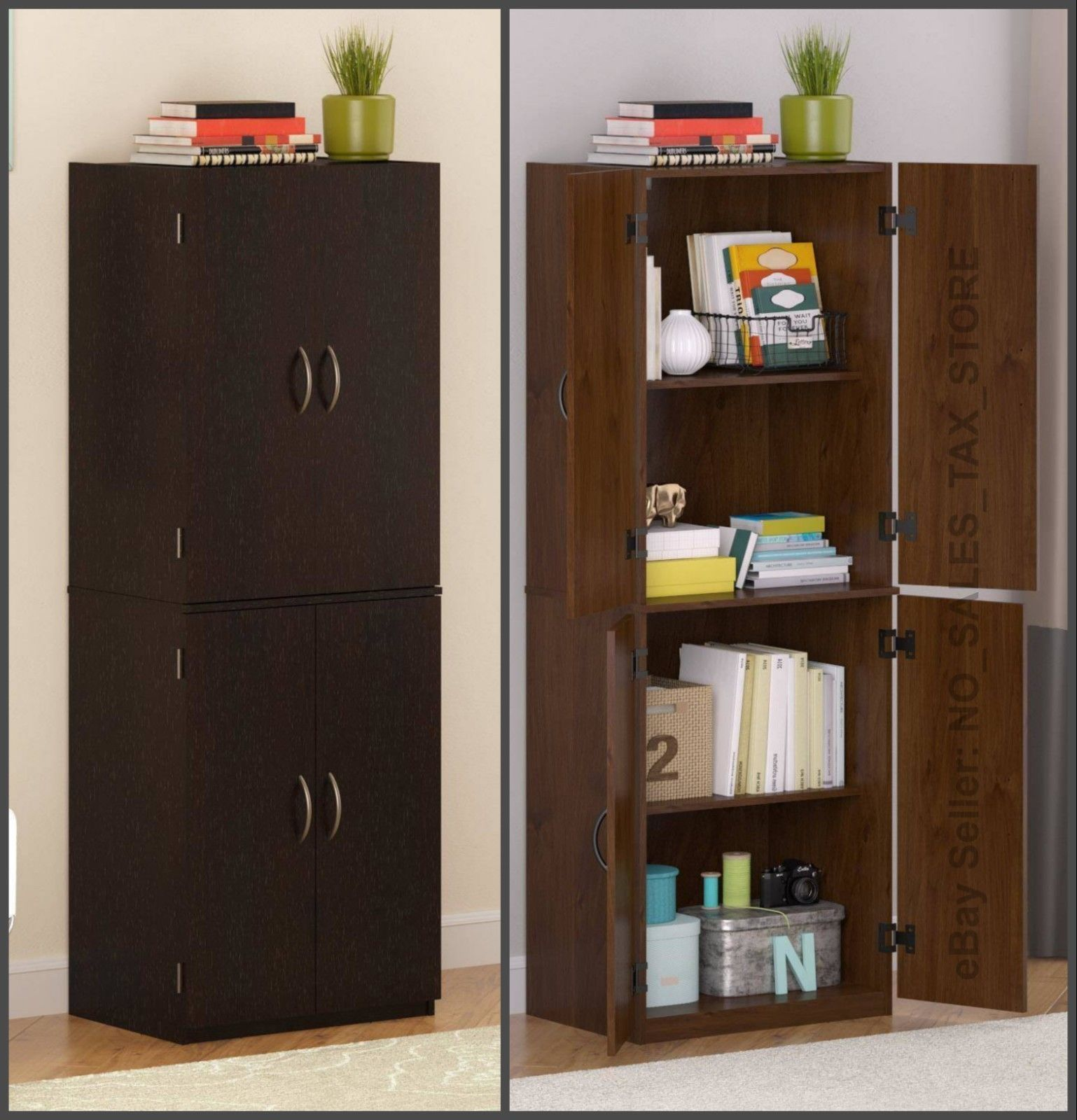 Kitchen Pantry Storage Cabinet Cupboard Organizer Wood Tall Shelves Furniture