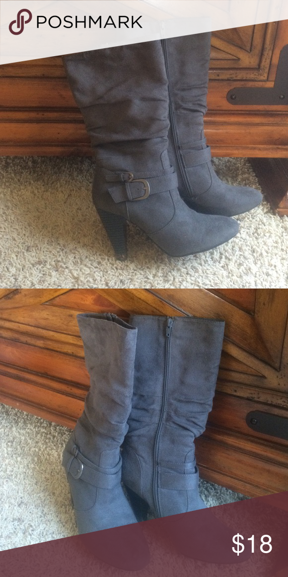 Apt 9 boots Gray full zip boots with buckle detail. Can't find a size. I wear an 8.5-9 and they fit me fine. Apt. 9 Shoes Heeled Boots