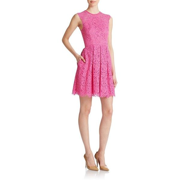 Shoshanna Pleated Lace Dress ($237) ❤ liked on Polyvore featuring dresses, fuschia, fuschia cocktail dress, shoshanna, lace pleated dress, cut out cocktail dresses and cut out dress