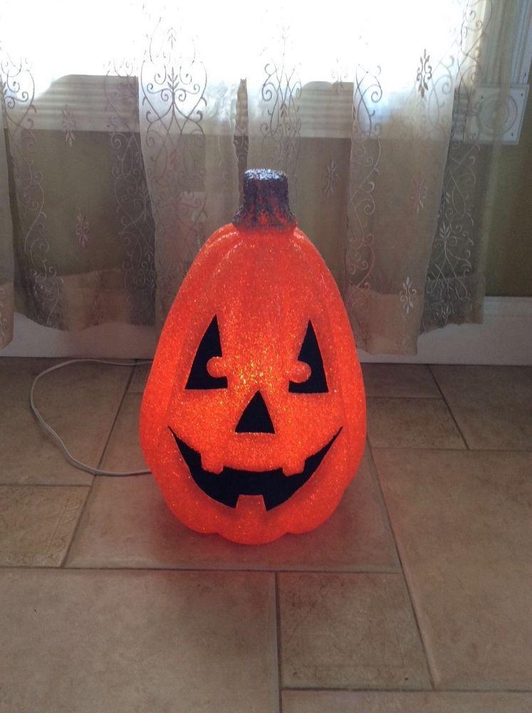 Halloween Lighted Plastic Melted Popcorn Pumpkin Jack O Lantern - halloween lighted decorations