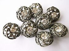 PewterTone Metal Leaf with Rhinestone Buttons