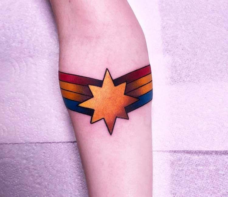 Captain Marvel Tattoo By Matthew Larkin Avengers Tattoo Marvel