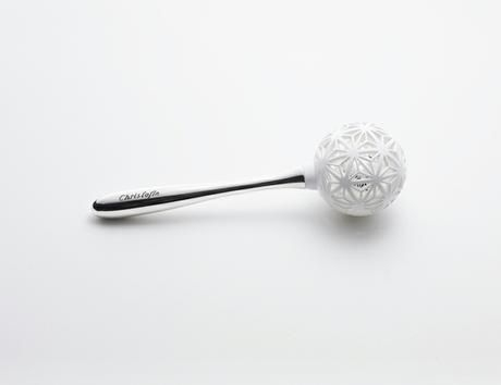 Work › 'Prism Rattle' silver baby gift for Christofle, Fiona Krüger/ECAL -- Prism rattle is a sterling silver baby rattle, a traditional baby gift intended ...