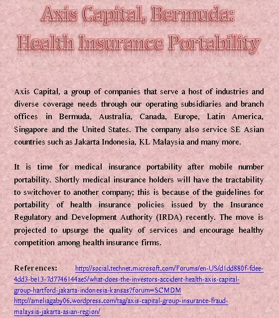 Axis Capital, Bermuda: Health Insurance Portability http ...