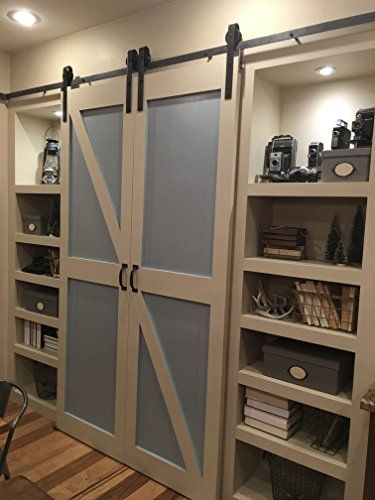 249 99 Double Door Sliding Barn Door Hardware Kit With 12 Feet Track For Two Doors Rustic Antique Co Sliding Barn Door Hardware Barn Door Bifold Barn Doors