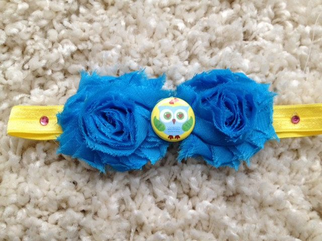 Yellow and Blue Shabby Flower Infant Headband with Owl Button Center. $8.00, via Etsy.
