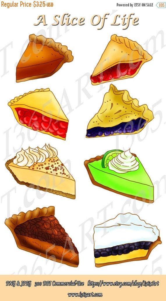 Buy 3 Get 1 Free Slice Pie Clipart Dessert Digital Etsy In 2021 Pie Slice Key Lime Pie Drawing