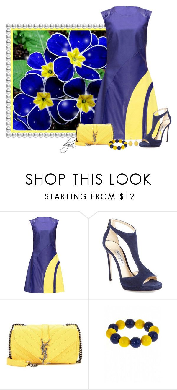 """Jimmy Choo 'Lana' Sandal"" by dgia ❤ liked on Polyvore featuring Lattori, Jimmy Choo, Yves Saint Laurent, Fornash and Liz Claiborne"