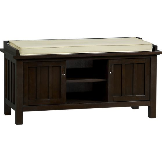 Brighton Coffee Storage Bench With Natural Cushion In Bedroom Benches Crate And Barrel Bench With Storage Entryway Bench Storage Storage Bench Bedroom