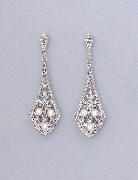 Crystal Pearl Bridal Chandelier Earrings Vintage Deco Style Chandelier Earrings Emily My King And I Vintage Wedding Jewelry Chandelier Earrings Wedding