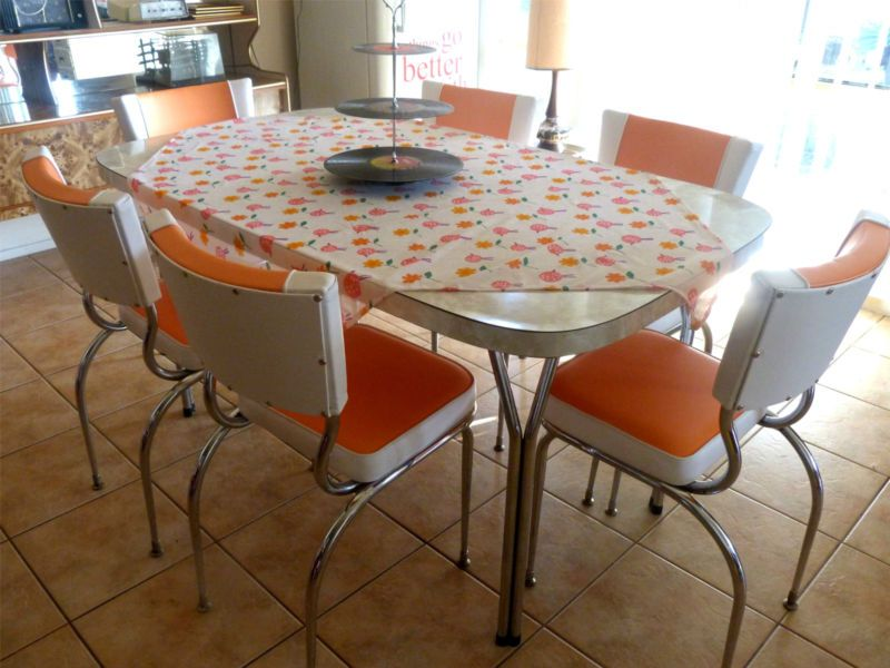 1950s 60s kitchen dining set retro table 6 chairs ebay