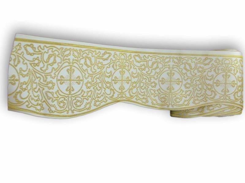 Mantovana bianco e oro altezza cm 14 bordi semprini arredi sacri