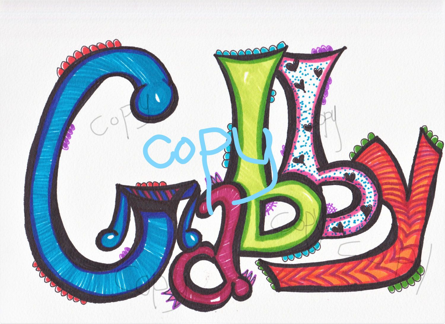 Hand drawn name gabby digital download by