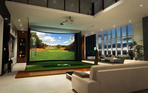 Golf simulation as art. Bobbi Bulmer - Modern Media Room Design.