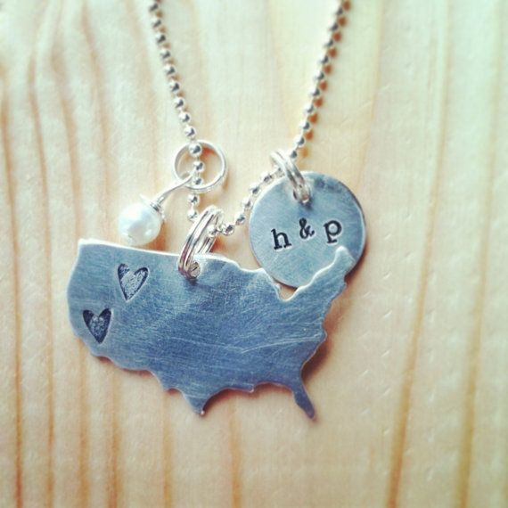long distance love hand stamped United by threechickscouture, $30.00