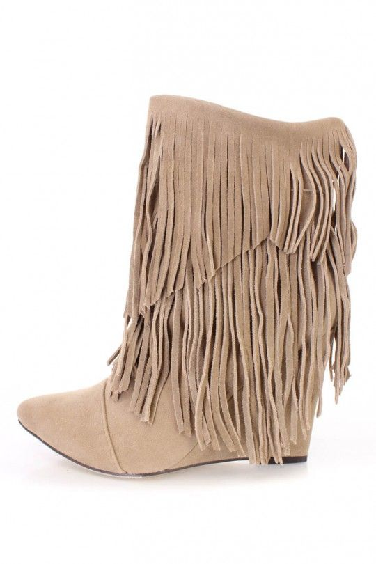 Fringe tiered ankle boots