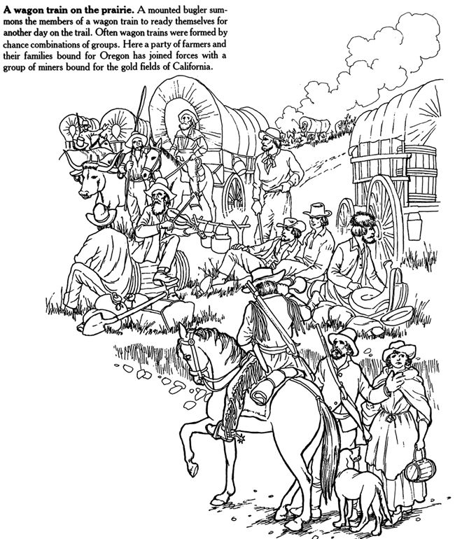 Covered wagon on pinterest oregon trail coloring pages for Covered wagon coloring page