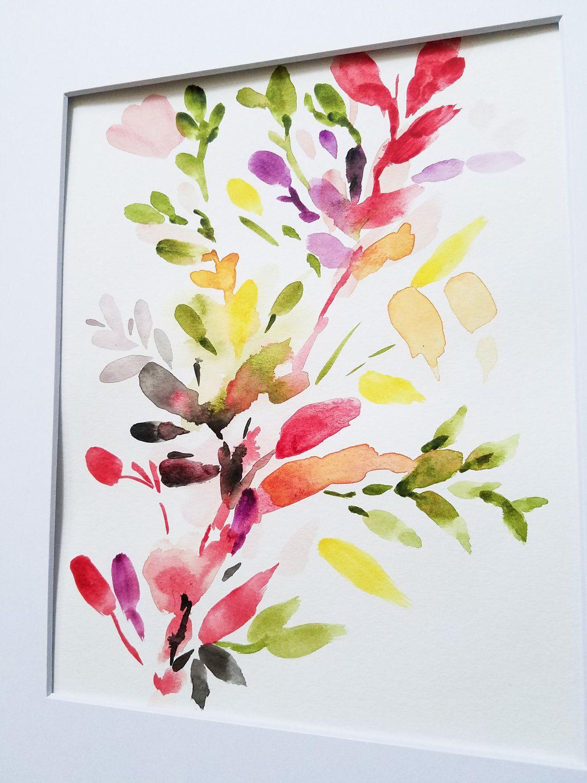 Peinture Aquarelle Fleur Abstraite Peinture Florale Aquarelle