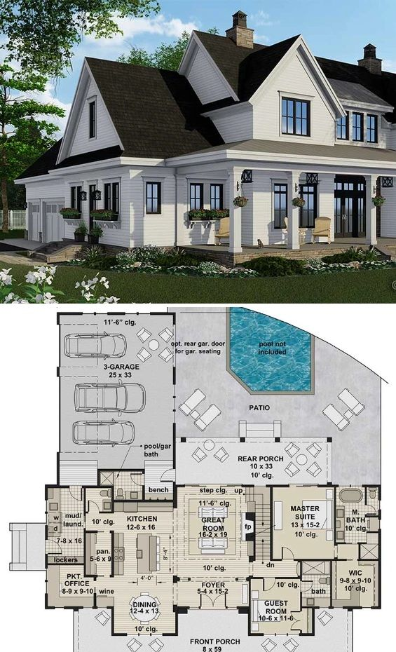 Silverbell Ranch Country House Plan With 4 Bedrooms Home Office And Guest Suite In 2020 Southern House Plans French Country House Plans Country House Plans