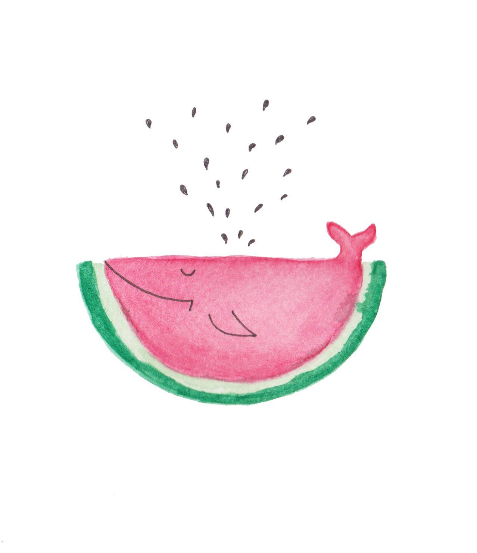 Watermelon, fish, wale, akvarell, illustration, drawing, watercolors ...