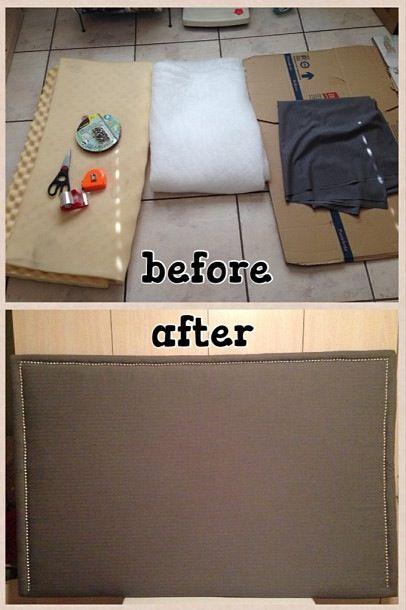 DIY cardboard headboard