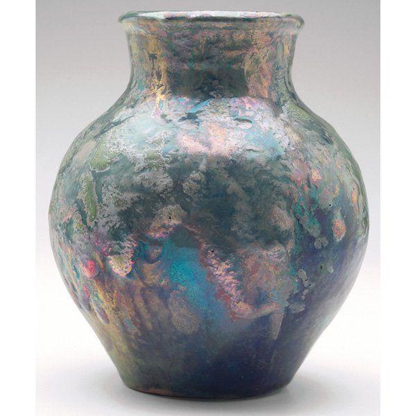 Pewabic Pottery Pewabic Vase Blue Green Gray Metallic Glaze Rare
