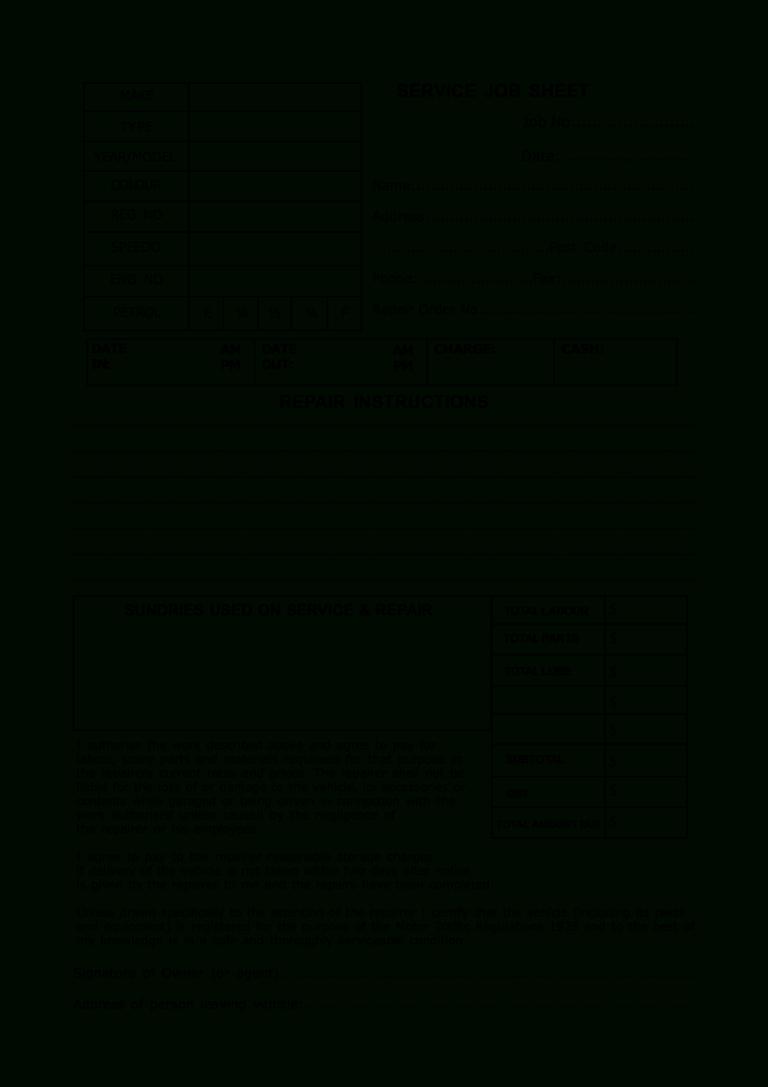 Service Job Sheet Template Dalep Midnightpig Co Within Mechanics Job Card Template Marketing Report Template Letter Template Word Lab Report Template