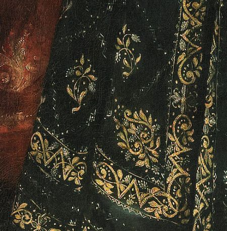 Portrait of a lady, detail of skirt