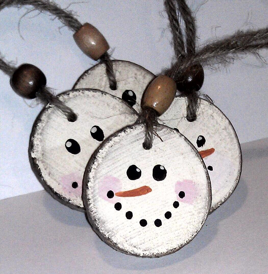 Snowman christmas ornament double sided wooden rustic tree decor