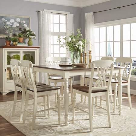 Weston Home Two Tone 7 Piece Counter Height Dining Set Antique