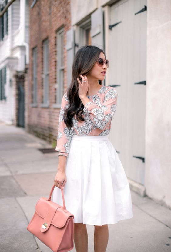 07 a white pleated midi skirt, a pink printed half sleeve shirt and a pink bag - Styleoholic
