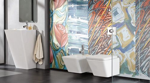 Colourful ARTS REVERIE thin porcelain tiles in a modern bathroom from the  Porcel Thin ART Collection