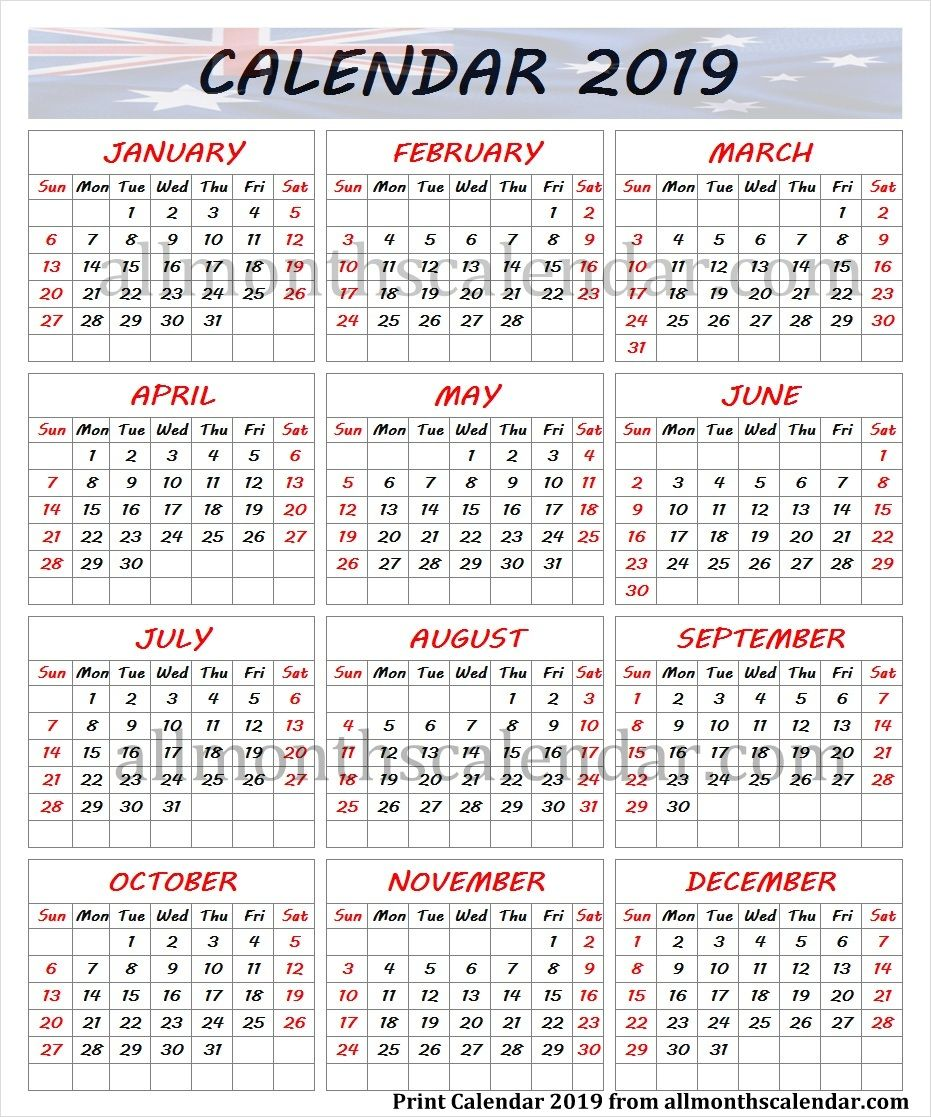 year calendar 2019 australia