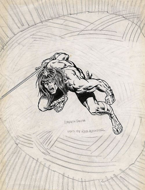 Early, unpublished concept drawing by Barry Windsor-Smith (pencils) and Rich Buckler (inks) for their run on Conan the Barbarian, circa 1970.