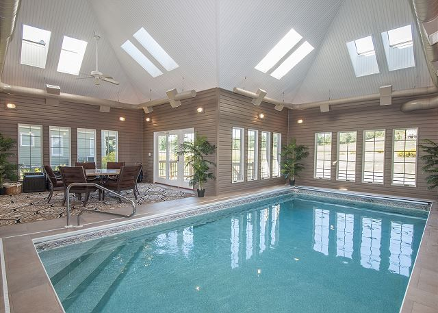 Home indoor pool and hot tub  PRIVATE INDOOR POOL - Serenity Now - This Deep Creek Lake home ...