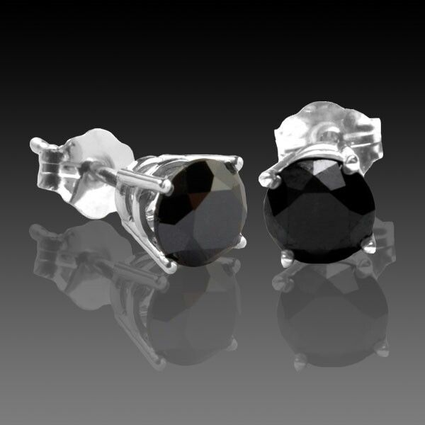 Black Diamond Stud Earrings 4 Carat Total Weight G Basket In White Gold