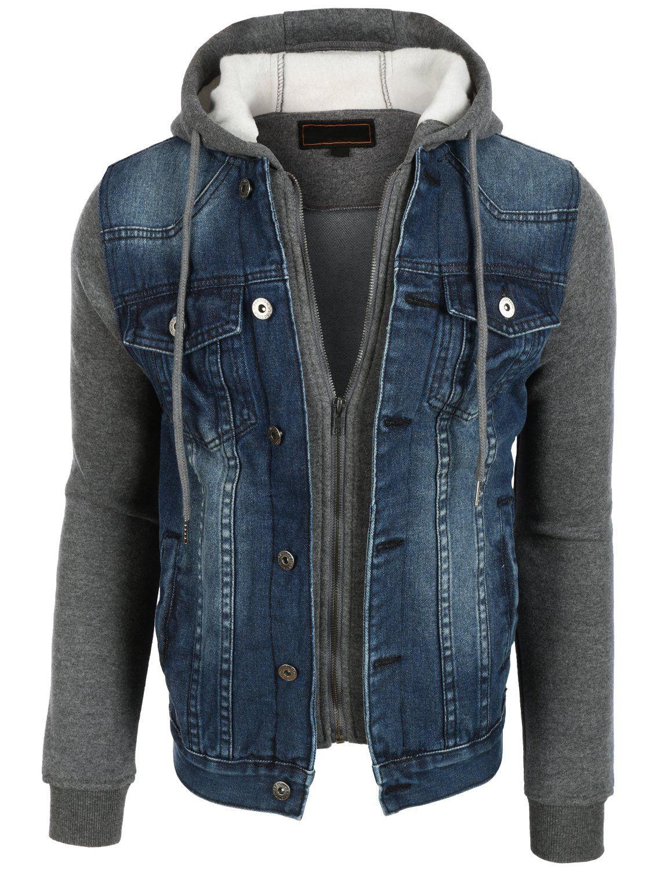 f5f3d0049e506 OLLIN1 Mens Vintage Long Sleeve Denim Jean Jacket with Fleece Hoodie ...